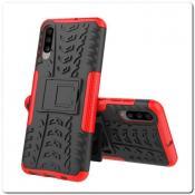 Купить Противоударный Усиленный Ребристый Hybrid Tyre Защитный Чехол для Samsung Galaxy A70 с Подставкой Красный на Apple-Land.ru