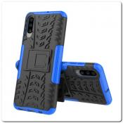 Купить Противоударный Усиленный Ребристый Hybrid Tyre Защитный Чехол для Samsung Galaxy A70 с Подставкой Синий на Apple-Land.ru