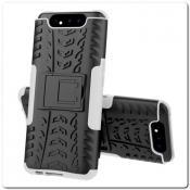 Купить Противоударный Усиленный Ребристый Hybrid Tyre Защитный Чехол для Samsung Galaxy A80 с Подставкой Серый на Apple-Land.ru