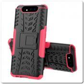 Купить Противоударный Усиленный Ребристый Hybrid Tyre Защитный Чехол для Samsung Galaxy A80 с Подставкой Ярко-Розовый на Apple-Land.ru