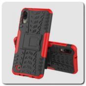 Противоударный Усиленный Ребристый Hybrid Tyre Защитный Чехол для Samsung Galaxy M10 / Galaxy A10 с Подставкой Красный