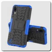 Купить Противоударный Усиленный Ребристый Hybrid Tyre Защитный Чехол для Samsung Galaxy M10 / Galaxy A10 с Подставкой Синий на Apple-Land.ru