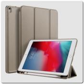 Купить PU Кожаный Чехол Книжка для iPad Air 2019 Складная Подставка Золотой на Apple-Land.ru