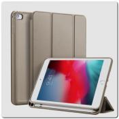 Купить PU Кожаный Чехол Книжка для iPad mini 2019 Складная Подставка Золотой на Apple-Land.ru