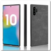 Купить Силиконовый Чехол с PU Кожаным Покрытием для Samsung Galaxy Note 10+ / Note 10 Plus Черный на Apple-Land.ru