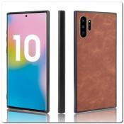 Купить Силиконовый Чехол с PU Кожаным Покрытием для Samsung Galaxy Note 10+ / Note 10 Plus Коричневый на Apple-Land.ru
