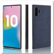 Купить Силиконовый Чехол с PU Кожаным Покрытием для Samsung Galaxy Note 10+ / Note 10 Plus Синий на Apple-Land.ru