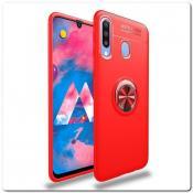 Купить Силиконовый Magnet Ring Чехол с Кольцом для Магнитного Держателя для Samsung Galaxy A30 / Galaxy A20 Красный на Apple-Land.ru