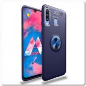 Купить Силиконовый Magnet Ring Чехол с Кольцом для Магнитного Держателя для Samsung Galaxy A30 / Galaxy A20 Синий на Apple-Land.ru
