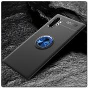 Силиконовый Magnet Ring Чехол с Кольцом для Магнитного Держателя для Samsung Galaxy Note 10+ / Note 10 Plus Черный