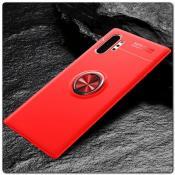 Силиконовый Magnet Ring Чехол с Кольцом для Магнитного Держателя для Samsung Galaxy Note 10+ / Note 10 Plus Красный
