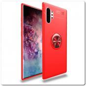 Купить Силиконовый Magnet Ring Чехол с Кольцом для Магнитного Держателя для Samsung Galaxy Note 10+ / Note 10 Plus Красный на Apple-Land.ru