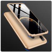 Купить Тройной Съемный Пластиковый Чехол GKK 360° для Samsung Galaxy A30 / Galaxy A20 Золотой на Apple-Land.ru