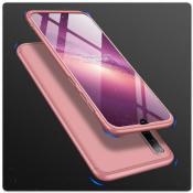 Тройной Съемный Пластиковый Чехол GKK 360° для Samsung Galaxy A50 Ярко-Розовый