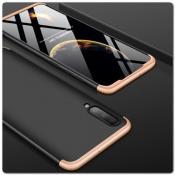 Тройной Съемный Пластиковый Чехол GKK 360° для Samsung Galaxy A70 Золотой / Черный