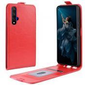Купить Вертикальный Чехол Книжка Флип Вниз для Huawei Honor 20 с карманом для карт Красный на Apple-Land.ru