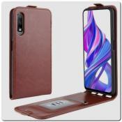 Купить Вертикальный Чехол Книжка Флип Вниз для Huawei Honor 9X / 9X Pro с карманом для карт Коричневый на Apple-Land.ru