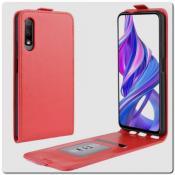 Купить Вертикальный Чехол Книжка Флип Вниз для Huawei Honor 9X / 9X Pro с карманом для карт Красный на Apple-Land.ru