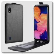 Купить Вертикальный Чехол Книжка Флип Вниз для Samsung Galaxy A10 с карманом для карт Черный на Apple-Land.ru