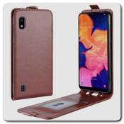 Купить Вертикальный Чехол Книжка Флип Вниз для Samsung Galaxy A10 с карманом для карт Коричневый на Apple-Land.ru