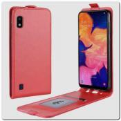 Купить Вертикальный Чехол Книжка Флип Вниз для Samsung Galaxy A10 с карманом для карт Красный на Apple-Land.ru