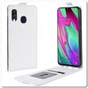 Купить Вертикальный Чехол Книжка Флип Вниз для Samsung Galaxy A40 с карманом для карт Белый на Apple-Land.ru