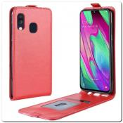 Купить Вертикальный Чехол Книжка Флип Вниз для Samsung Galaxy A40 с карманом для карт Красный на Apple-Land.ru