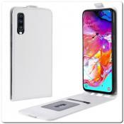 Купить Вертикальный Чехол Книжка Флип Вниз для Samsung Galaxy A70 с карманом для карт Белый на Apple-Land.ru