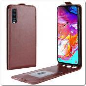 Купить Вертикальный Чехол Книжка Флип Вниз для Samsung Galaxy A70 с карманом для карт Коричневый на Apple-Land.ru