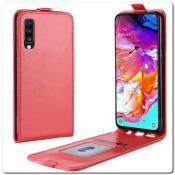 Купить Вертикальный Чехол Книжка Флип Вниз для Samsung Galaxy A70 с карманом для карт Красный на Apple-Land.ru
