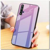Купить Защитный Чехол Gradient Color из Стекла и Силикона для Huawei Honor 20 Фиолетовый / Розовый на Apple-Land.ru