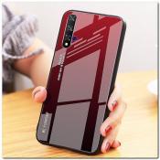 Купить Защитный Чехол Gradient Color из Стекла и Силикона для Huawei Honor 20 Красный / Черный на Apple-Land.ru