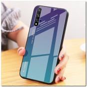 Купить Защитный Чехол Gradient Color из Стекла и Силикона для Huawei Honor 20 Синий / Фиолетовый на Apple-Land.ru