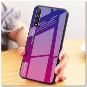 Купить Защитный Чехол Gradient Color из Стекла и Силикона для Huawei Honor 20 Синий / Розовый на Apple-Land.ru