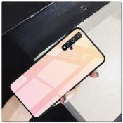 Купить Защитный Чехол Gradient Color из Стекла и Силикона для Huawei Honor 20 Золотой / Розовый на Apple-Land.ru
