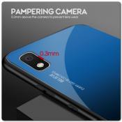 Купить Защитный Чехол Gradient Color из Стекла и Силикона для Samsung Galaxy A10 Синий / Черный на Apple-Land.ru