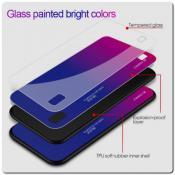 Купить Защитный Чехол Gradient Color из Стекла и Силикона для Samsung Galaxy A10 Синий / Розовый на Apple-Land.ru