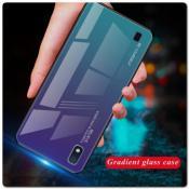 Купить Защитный Чехол Gradient Color из Стекла и Силикона для Samsung Galaxy A10 Синий на Apple-Land.ru
