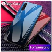 Защитный Чехол Gradient Color из Стекла и Силикона для Samsung Galaxy A50 Синий / Черный