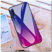 Купить Защитный Чехол Gradient Color из Стекла и Силикона для Samsung Galaxy A50 Синий / Фиолетовый на Apple-Land.ru