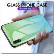 Купить Защитный Чехол Gradient Color из Стекла и Силикона для Samsung Galaxy A50 Синий на Apple-Land.ru