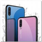 Защитный Чехол Gradient Color из Стекла и Силикона для Samsung Galaxy A50 Ярко-Розовый