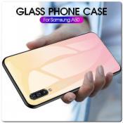 Купить Защитный Чехол Gradient Color из Стекла и Силикона для Samsung Galaxy A50 Золотой / Розовый на Apple-Land.ru