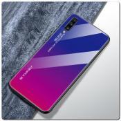 Купить Защитный Чехол Gradient Color из Стекла и Силикона для Samsung Galaxy A70 Синий / Розовый на Apple-Land.ru