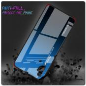 Защитный Чехол Gradient Color из Стекла и Силикона для Samsung Galaxy A70 Синий / Черный