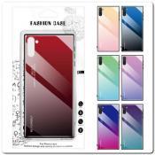 Защитный Чехол Gradient Color из Стекла и Силикона для Samsung Galaxy Note 10 Красный / Черный
