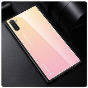 Купить Защитный Чехол Gradient Color из Стекла и Силикона для Samsung Galaxy Note 10+ / Note 10 Plus Золотой / Розовый на Apple-Land.ru