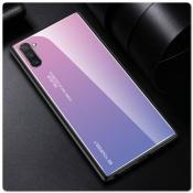 Защитный Чехол Gradient Color из Стекла и Силикона для Samsung Galaxy Note 10 Розовый