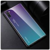 Защитный Чехол Gradient Color из Стекла и Силикона для Samsung Galaxy Note 10 Синий