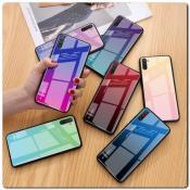 Защитный Чехол Gradient Color из Стекла и Силикона для Samsung Galaxy Note 10 Золотой / Розовый